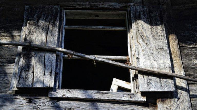 Бръшлян. Напускайки тези места, животът оставя след себе си само празни прозорци и забравени спомени.