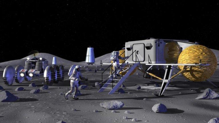 Ще направят каквото Америка не успя  Това не е първият случай, в който страна планира колонизиране на Луната. Америка е обмисляла идеята, конкретно при управлението на Джордж У. Буш. Снимката показва ранна концепция за американската база.