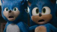 """Преди и сега.  Дизайнът на таралежа Соник беше """"поправен"""" за игралния филм с героя, след като фенове се изказаха остро срещу оригиналния вид при дебюта на трейлъра през април. Новият трейлър на филма показва """"поправеният"""", доста по-анимационен Соник."""