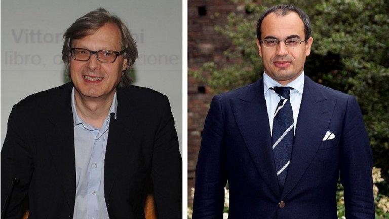 """Джанлуиджи Парагон (д), бивш член на Сената от """"Пет звезди"""", наскоро обяви, че прави партия, чиято основна цел е излизане на Италия от ЕС. А арт критикът Виторио Сгарби (л), който беше министър в кабинета на Берлускони, се бори за референдум по въпроса за излизането на Италия от ЕС"""