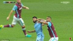 Серхио Агуеро бе наказан за три мача заради удара с лакът в лицето на Уинстън Рийд