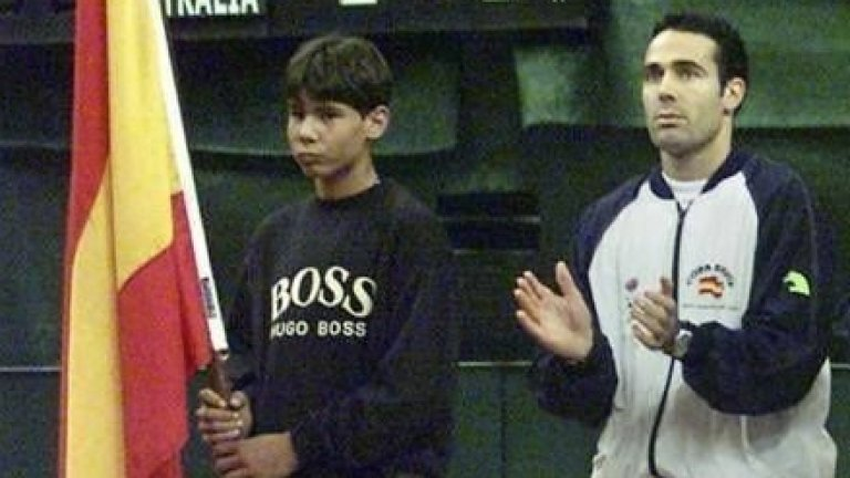 "Рафаел Надал по време на ""Купа Дейвис"" през 2000 г."