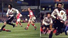 1999 г., Манчестър Юнайтед - Арсенал 2:1Райън Гигс вкарва знаменития си гол в продълженията, за да прати Юнайтед на финала. В този момент тимът му е с 10 души и едва удържа натиска на Арсенал. Гигс обаче взима топката, минава през четирима съперници и вкарва под гредата. Попадението е номер едно в историята на турнира.