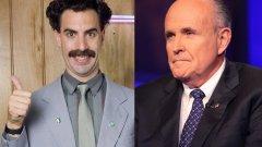 """Дори президентът на САЩ коментира продължението на """"Борат"""", в което под прицел е бившият кмет на Ню Йорк Руди Джулиани (вдясно на снимката)."""
