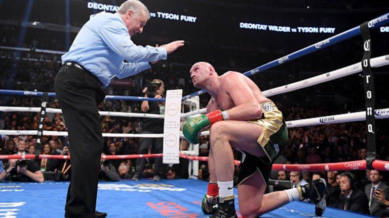 Тайсън Фюри (бокс)  Тотално отписваният Фюри направи шеметно завръщане на ринга след като 30 месеца беше аут. През това време той се пребори с депресия, изтърпя наказание за допинг, напълня и отслабна над 60 кг и накрая показа, че продължава да е шампион по дух. През декември Фюри се би като равен със световния шампион Дионтей Уайлдър и според мнозина дори заслужаваше да получи победата в боя, след който съдиите присъдиха равенство. Срещу непобедения Уайлдър, Фюри някак успя да се изправи след два тежки нокдауна в 9-ия и 12-ия рунд.