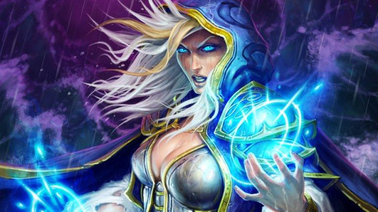 10.Джайна Праудмур  Първа поява: Warcraft 3 (2002)  Джайна имаше само поддържаща роля в Warcraft 3, но се издигна до опитен генерал на Алианса в хитовата World of Warcraft, превърнала се в световен феномен. Днес тя продължава да бъде едно от най-популярните лица и в другите игри от вселената на Warcraft като Heroes of the Storm и Hearthstone и е най-мощната магьосница от човешката раса в Азерот.