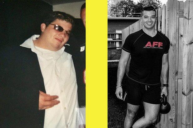 """10. Антъни Флорс, 31 години, отслабва 40 килограма за 1 година. Тайната му е в малките цели. Един ден, докато се изкачвал по стълбите, Антъни се изморил страшно много, а това бил повратен момент. Още на следващия той започнал да тича във фитнес: """"Издържах едва 10 минути и не исках никой да ме види."""" Това обаче не го отказва, а години по-късно дори започва да участва в състезания."""