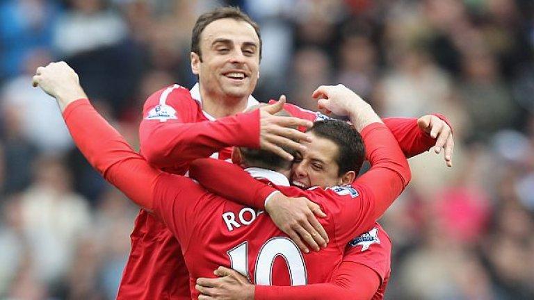 Димитър Бербатов, Уейн Рууни и Хавиер Ернандес - страхотните нападатели на Манчестър Юнайтед през сезон 2010/11
