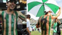 На този фен на колумбийския Атлетико Насионал няма да му се налага всеки сезон да си взима новия екип на отбора. Той просто си е татуирал фланелката върху тялото.