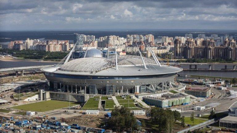 """Cтадион """"Крестовски"""" в Санкт Петербург все още се строи, а на него ще има - 3 мача от груповата фаза и един четвъртфинал."""