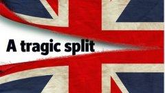 """""""Трагична раздяла"""" и сцепен на две британски флаг стоят на първа страница на The Economist"""