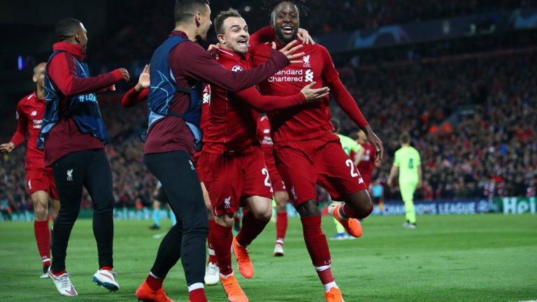 """Ливърпул - Барселона 4:0 (Шампионска лига, 2019)  Чудото на """"Анфийлд"""" от тази година директно влезе сред най-драматичните за последните години. Мечтата на Ливърпул за шести европейски триумф изглежда угасна след 0:3 на """"Камп Ноу"""". Но в реванша отборът на Юрген Клоп доказа изключителната си вяра и решителност, докато Барса на Валверде за втора поредна година изхвърча от Лигата, след като пропиля аванс от три гола след първия двубой."""