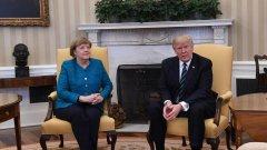 Неловкият момент при срещата на Тръмп и Меркел