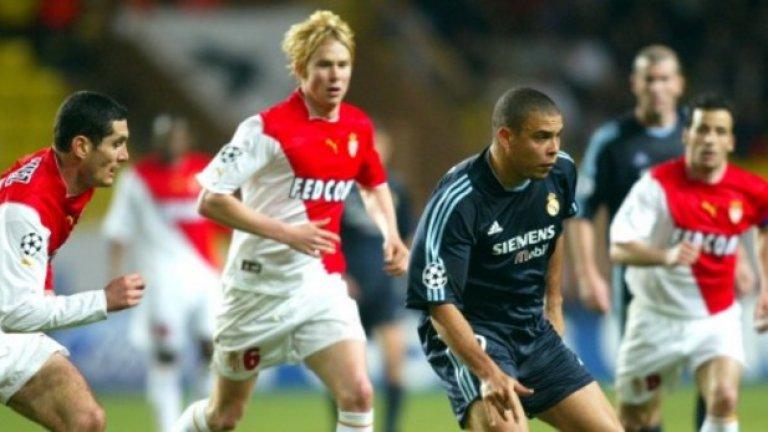 """Сезон 2003/04, четвъртфинали Реал Мадрид – Монако 4:2 Монако – Реал Мадрид 3:1 (общ: 5:5, Монако продължи, благодарение на повечето си голове на чужд терен) След 2:4 в Мадрид, Монако изоставаше и на """"Луи Втори"""" след гола на Раул, но страхотно воле на Людовик Жули изравни резултата. После дойде голът на Фернандо Мориентес, който бе под наем при """"монегаските"""" от Реал. И накрая – отново Жули. """"Нито един вестник не ни броеше за живи. Ако ги бяхме оставили да владеят топката, щяха да ни убият. Но когато им нарушиш ритъма, имаш шанс"""", бе коментарът на Жули."""
