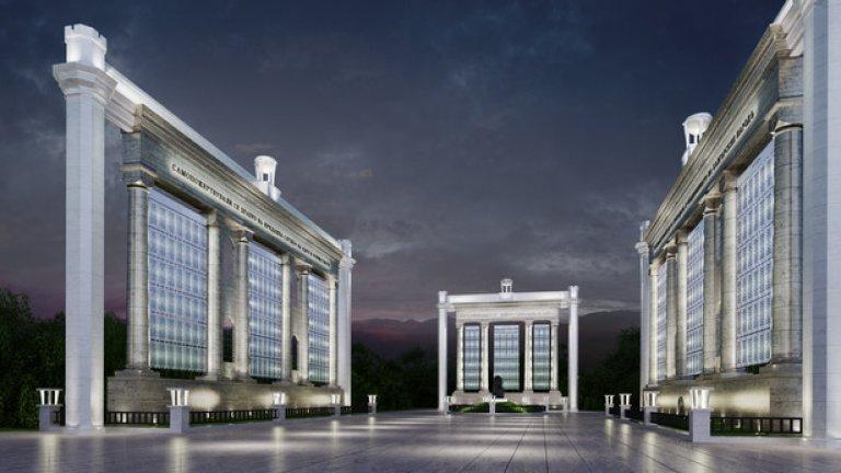 Визуализация на идейния проект - в центъра ще бъде поставена оригиналната статуя на лъв от Войнишкия паметник