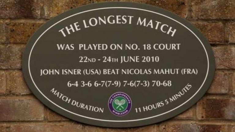 Най-дългият двубой в историята на тениса приключи след 11 часа и 5 минути игра в рамките на три дни. Американецът Джон Иснър спечели срещу французина Никола Маю с 6:4, 3:6, 6:7 (7), 7:6 (3).