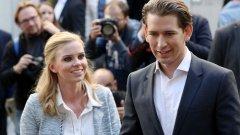 Себастиан Курц и приятелката му Зузане Тиер - средната възраст на австрийските канцлери е малко под 54 години. Най-младият правителствен ръководител на страната след Втората световна война е Леополд Фигл, поел властта на 43 г.