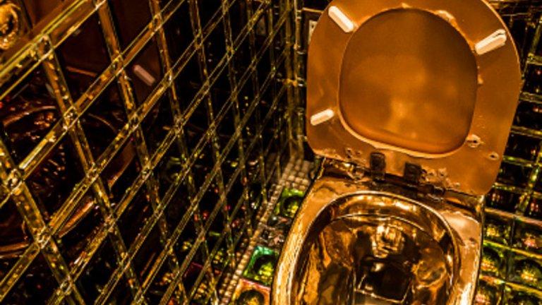 Тази тоалетна е златна (буквално) и се намира в ресторант Robots в Токио. Златната тоалетна чиния е допълнена от неонови светлини от пода, огледални стени и екрани в общата част на помещението.