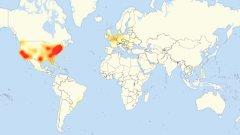 Карта на проблемите със свързването на 21 октомври в следствие на масирана DDoS атака според downdetector.com