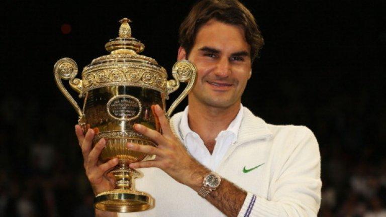 Швейцарският маестро Роджър Федерер печели трофея за първи път през 2003 г. Това е само началото на любовната му афера с Уимбълдън. Бившият №1 има 7 титли.