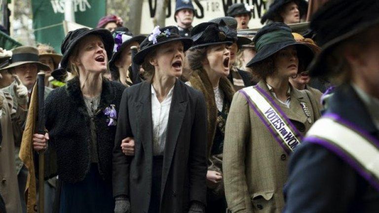 Suffragette  Премиера за САЩ: 23 октомври   В Англия през миналия век няколко смели активистки рискуват всичко, за да агитират за правото на жените да гласуват. Виждайки, че мирните протести не водят до нищо, те все повече се радикализират и стигат до насилие. Кери Мълиган, Хелена Бонъм Картър и Мерил Стрийп са сред актрисите в британската драма, която би трябвало да очарова феминисткото движение и по задължение да получи поне няколко награди.