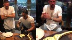 Рибери се кани да изяде златната пържола, която се оказа причина за скандалната му тирада
