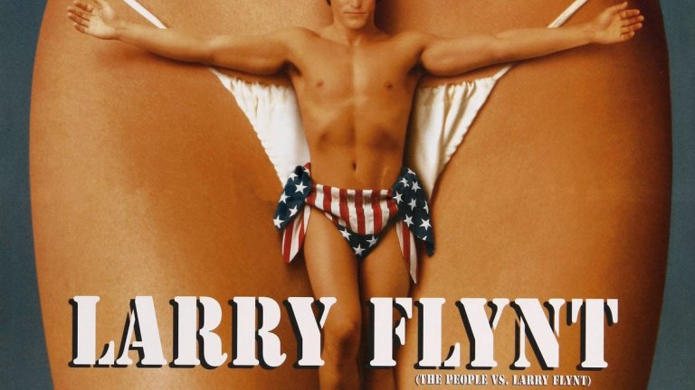 """The People Vs Larry Flynt / """"Народът срещу Лари Флин""""  Уди Харелсън, разперил ръце като Христос, с препаска от американското знаме и на фона на женски гениталии - какъв по-добър постер за филм, описващ живота на един от кралете на порното през миналия век в САЩ. Лентата за една от най-скандалните личности за времето си - собственикът на Hustler Лари Флинт - определено си изисква и достатъчно скандален постер. Въпросът е, че този настъпва твърде много хора по пръстите на краката, така че съвсем логично е и забранен в САЩ."""