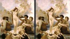 """Раждането на Венера от Уилям-Адолф Бугеро, 1879 - вдясно """"слабата версия""""; На следващата снимка Раждането на Венера от Ботичели"""