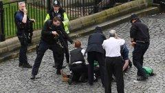 Полицай държи на прицел атентатора от Лондон, неутрализиран от охранители на парламента след нападението. Как се случи всичко - вижте в галерията.
