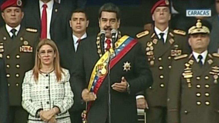 3. Николас Мадуро (президент на Венецуела от 2013 г.)  Случаят с венецуелския президент е най-пресен и най-иновативен откъм подход. На 4 август 2018 г. Мадуро участва във военен парад в столицата на страната Каракас. Към сцената, върху която президентът и други официални лица стоят, са насочени два дрона, натоварени с експлозив. Службите за сигурност успяват да ги отклонят. Мадуро е невредим, но са ранени седем войници.  Мадуро обвини за случая Колумбия, но властите в другата страна отхвърлиха твърденията му като неоснователни. След това президентът хвърли вината за случая върху лидери на венецуелската опизиция. В дните след нападението бяха арестувани няколко души, сред които и висши представители на венецуелската армия.