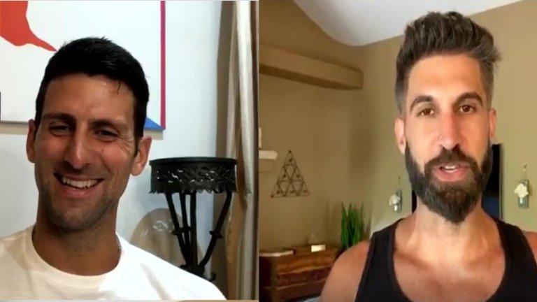 "Новак Джокович и ""гуруто"" Червин Джафарие по време на разговор в Instagram"