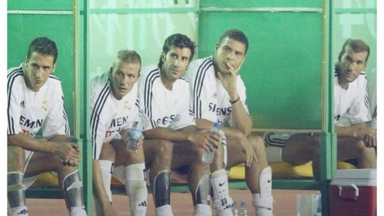 Раул, Дейвид Бекъм, Луиш Фиго, Роналдо и Зинедин Зидан – може би, най-добрата скамейка в историята.