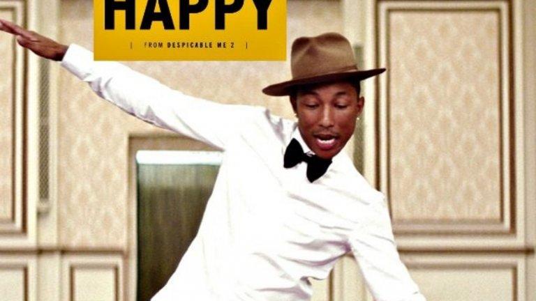 """Pharrell Williams - Happy  (""""Аз, проклетникът 2"""") Преди това парче да стане такъв извънземен хит, се появи вторият филм с участието на """"злия"""" Гру и минионите. Именно там изгря звездата на този хит, който задължително поне веднъж ви е карал да се кълчите като доволен Жокер (по Блатечки)."""
