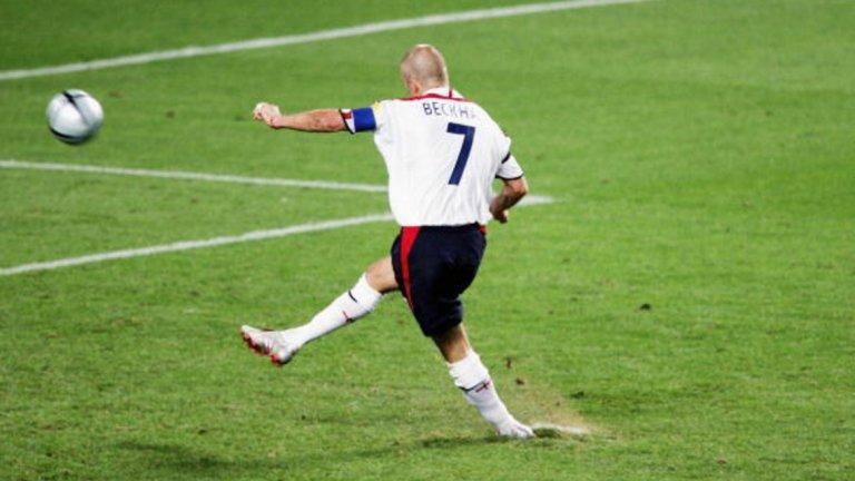 """Загуба с 5:6 (1:1 в редовното време, 2:2 след продължения) от Португалия на четвъртфинал на Евро 2004. Дейвид Бекъм прати топката високо над вратата, а Рикардо спаси удара на Дарайъс Васел, преди сам да донесе победата на """"селесао""""."""