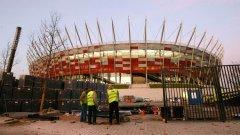 Гледка от строежа на Националния стадион във Варшава, където ще се играе мачът от откриването на Евро 2012