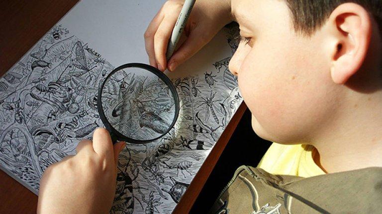 11-годишният сръбски гений Душан Кртолица се учи да рисува своите анатомично правилни картини на животни и растения