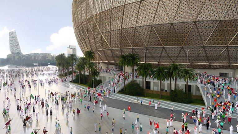 Златната фасада на стадиона символизира арабската архитектура и традициите на региона.