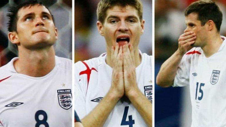 Загуба с 1:3 (0:0 в редовното време) от Португалия (отново) на четвъртфинал на Мондиал 2006. Този път за Англия пропуснаха Франк Лампард, Стивън Джерард и Джейми Карагър.