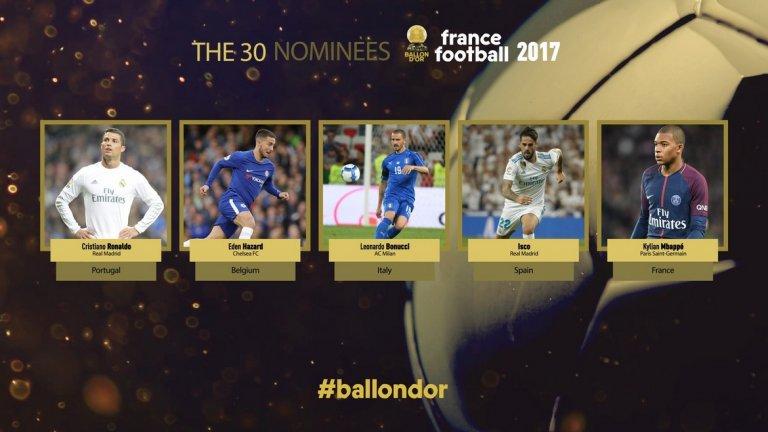 Последните петима: Кристиано Роналдо (Реал Мадрид и Португалия), Еден Азар (Челси и Белгия), Леонардо Бонучи (Милан и Италия), Иско Реал Мадрид и Испания), Килиан Мбапе (Монако и Франция)