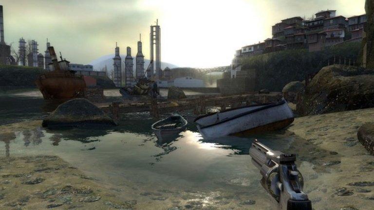 """City 17 (Half-Life 2)  Half-Life 2 и без това е емблематичен шутър, но градът от играта заслужава специално внимание. Изглежда ли ви City 17 доста познат? Да ви прилича на панелните комплекси в """"Младост"""" или """"Зона Б-5""""? Направиха ли ви впечатление остъклените по български маниер балкони на панелните блокове? Забелязахте ли, че потрошените коли са Лади, Жигули и Трабантчета... Ами порутената катерушка и пързалка? Да, точно тези, които може да видите, ако надникнете през балкона. Сигурен съм, че не сте пропуснали и завод """"Цимент"""". И на финала - абревиатурата Н.Л.О.  Играта е пълна със скрити намигвания към нас. И да, първото име, изписано след края на Half-Life 2, е на българин. Става дума за арт директора на проекта Виктор Антонов, който се е вдъхновявал активно, скитайки из постапокалиптичните пейзажи на българската столица от онова време. Затова някои от местата, които ще посетите, ще ви заприличат на """"Сточна гара"""" или площад """"Гарибалди"""". А някъде в далечината може и да мернете лъскавите кубета на """"Александър Невски""""."""