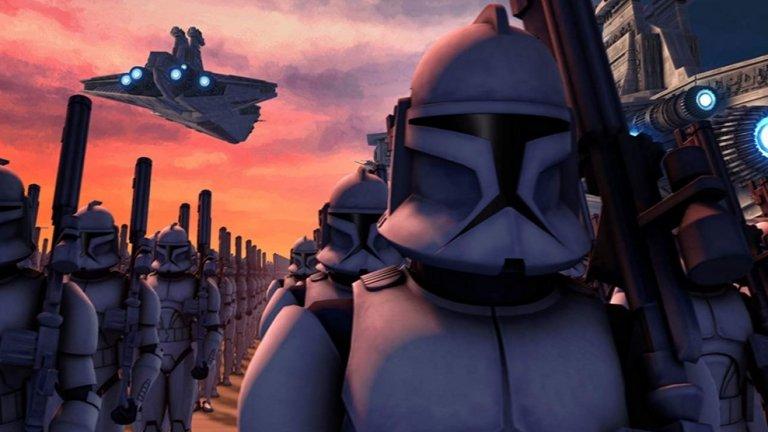 """Нов сезон на Star Wars: The Clone Wars  Анимационният сериал, посветен на събитията между Епизод 2 и Епизод 3 на """"Междузвездни войни"""", също се завръща с нов сезон, въпреки че официално свърши през 2014-a. Вероятно популярността му сред феновете е била причина да бъде съживен, за да притегли допълнителен интерес към новата стрийминг услуга."""