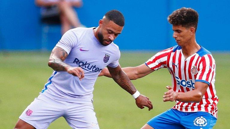 Мемфис Депай вече направи неофициалния си дебют за Барселона и вкара от дузпа при победата с 3:1 над Жирона