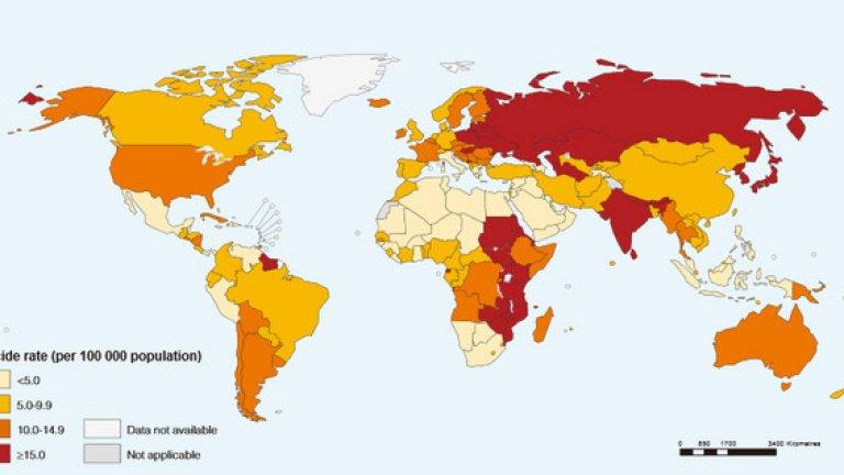 В България за периода 2000 до 2012 година броят на самоубийствата е намалял с над 30 на 100
