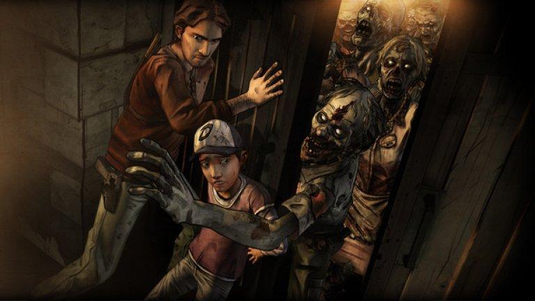 The Walking Dead (PS3, PS Vita, Xbox 360, PC, iOS, Android)  Telltale Games успя да се докаже като студио, способно да адаптира нашите любими филми и комикси, но навярно малцина са си представяли, че точно от The Walking Dead може да се получи толкова добра приключенска игра. Героите в това приключение не са познатите от хитовия ТВ сериал персонажи, а напълно нови образи, начело с Лий Еверет - затворник, осъден за убийство. Дали го е извършил или не, това няма значение. Не и в самото начало на зомби апокалипсиса, който завинаги ще промени човешката цивилизация и отношенията между хората. По-нататък приключенията на Лий, малката му спътница Клем и всички останали спокойно могат да ви задържат пред монитора и да ви накарат да играете епизод след епизод на един дъх.   Особено впечатляващ е фактът, че много пъти в хода на епизодите ще видите как целият този зомби апокалипсис и последвалите събития рефлектират директно върху персонажите. В рамките на няколко секунди те ще останат насаме със своите мисли, а вие ще се докоснете до техните емоции. Това трябва да се види - емоционалният заряд в тези сцени е просто неописуем.