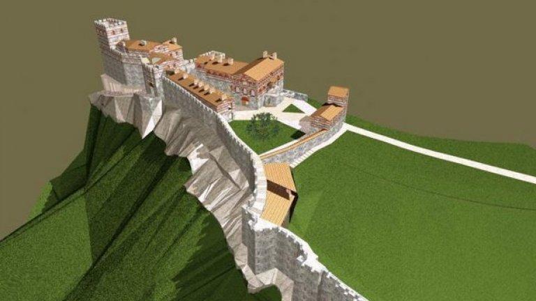 """Визуализация на хълма Трапезица във Велико Търново     Най-мащабната идея в бъдеще време е да се """"възстанови"""" хълмът Трапезица във Велико Търново, втората крепост на вътрешния град на старата българска столица, където се е намирал и дворецът на Асеневци. Там все още се правят археологически проучвания, според Божидар Димитров с мизерни средства от екипа на проф. Константин Тотев.   Премиерът Бойко Борисов даде благословия за проекта и обеща държавата да го финансира, което отприщи дебата нужна ли е бутафорната """"реставрация до зъбер и керемида"""", при това на някои от най-значимите обекти от културно-историческо ни наследство.   Възстановяването на стана повод за медийна престрелка между Димитров и проф. Тодор Кръстев, член на Международния съвет за паметниците на културата и авторитетен експерт на ЮНЕСКО, който припомни, че Царевец не е защитен от културната организация на ООН, защото е издигнат от комунистическата власт по фантазия и без научна обосновка.    Димитров го нарече експерт в кавички и """"супер мошеник"""", с което дебатът мина в съвсем друго русло."""