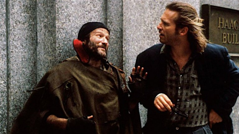 """""""Кралят на рибарите"""" (The Fisher King) Комедийната драма, излязла през 1991 г., показва Уилямс като бездомник, който търси Светия Граал, но се среща с радиоводещ, опитващ се да подреди живота си. Без да знаят, че са свързани от миналото си, двамата мъже си помагат в едно фантастично пътуване на откриване на собствената им човечност."""