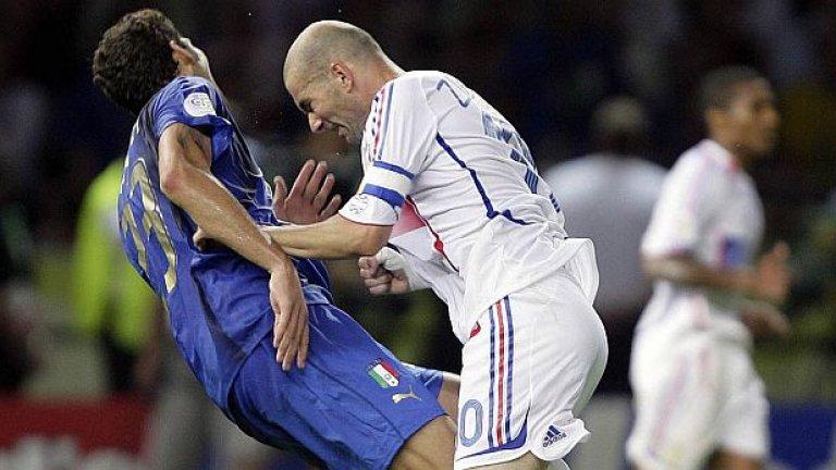 Да видим футболист, който удря съперник с глава: 4-1.