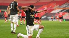 """Изумителен Кавани измъкна Юнайтед срещу """"светците"""""""