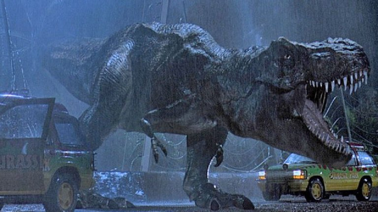 """7.""""Джурасик парк"""" (1993)  Може да не е типичният пример за фантастика, но класическият блокбъстър на Спилбърг се оказва популярен сред учените. Той е базиран на примамливата, но нереалистична идея, че ДНК на динозаври може да бъде извлечена от стомасите на праисторически комари, запазени изцяло в кехлибари.   """"Джурасик парк"""" представя наука, която ни се иска да беше действителна"""", признава Джак Хорнър, палеонтологът, послужил за модел на главния герой във филма, изигран от Сам Нийл. Палеобиологът от Манчестърския университет Дейвид Пени добавя, че до ден днешен гледа филма и се радва, че той кара неговите изследвания да изглеждат """"секси""""."""