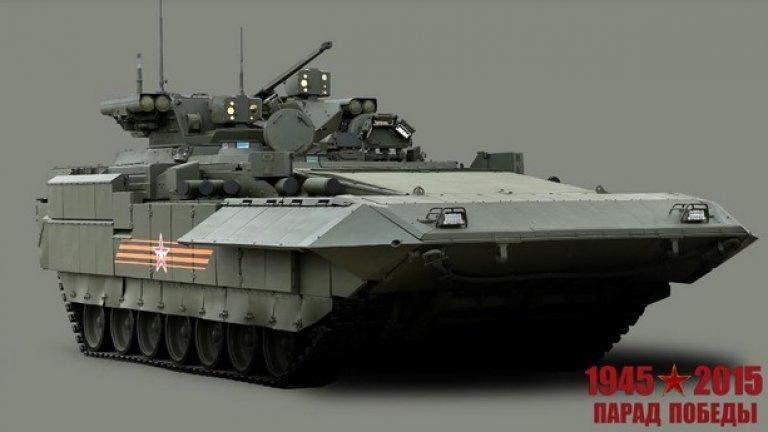 """Бойна пехотна машина """"Армата""""   Предназначена за водене на маневрени бойни действия в състава на танкови и многострелкови подразделения в качеството на основно многоцелево бойно средство в условията на използване на ядрено оръжие и други видове оръжие за масово поразяване (Галерия)"""